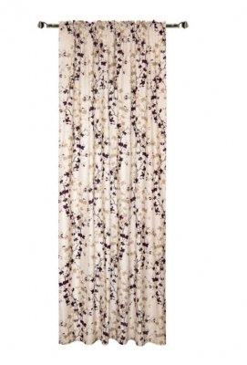 Draperie , Flowers 140 x 270 cm, 1 bucata, bej cu imprimeu floral