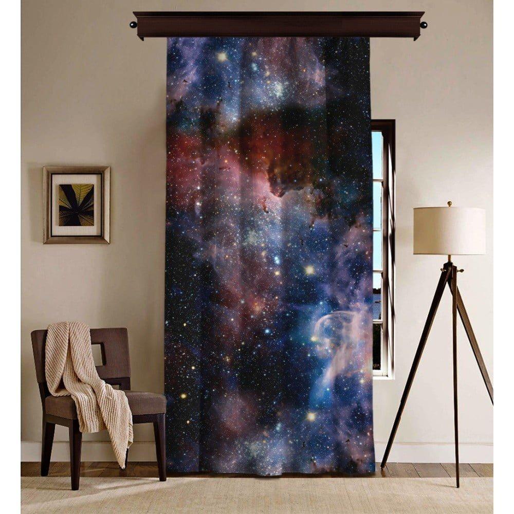 Draperie Curtain Danna, 140 x 260 cm, negru, imprimeu galaxie