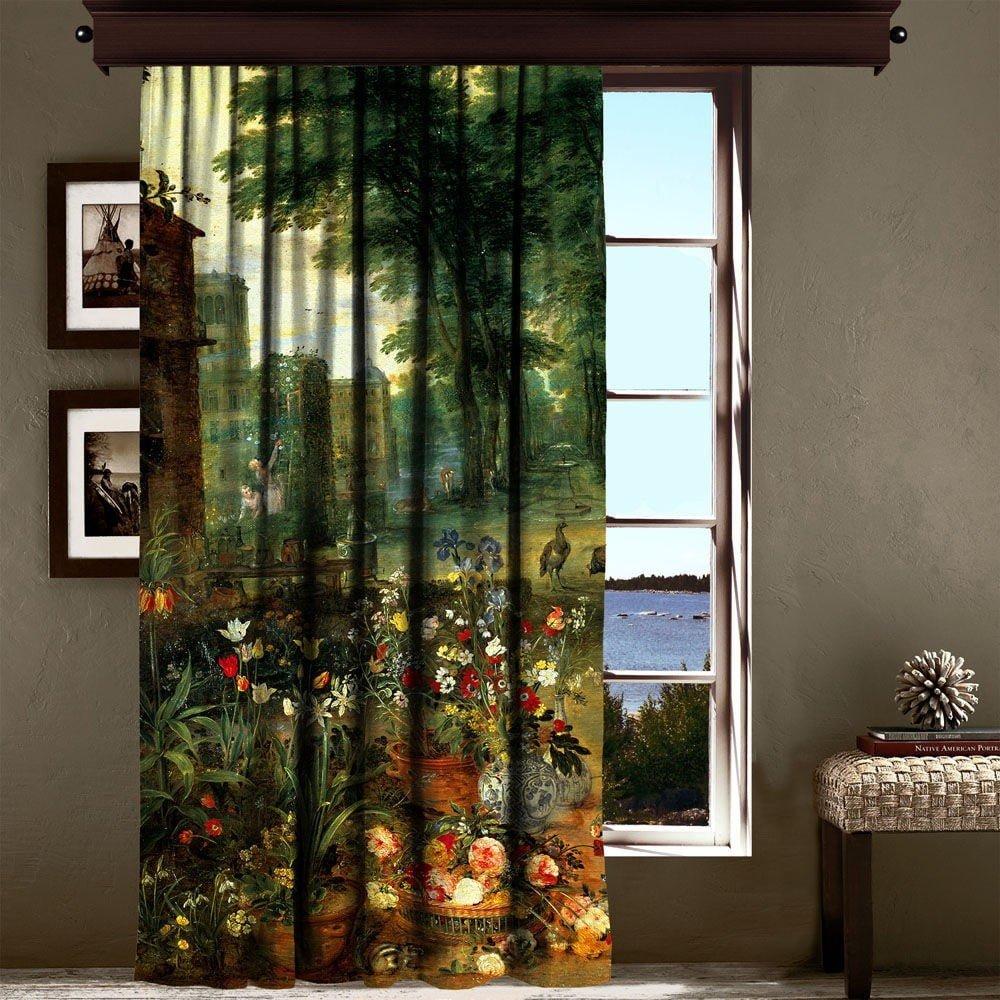 Draperie Curtain Mertie, 140 x 260 cm, verde, imprimeu tip  pictura