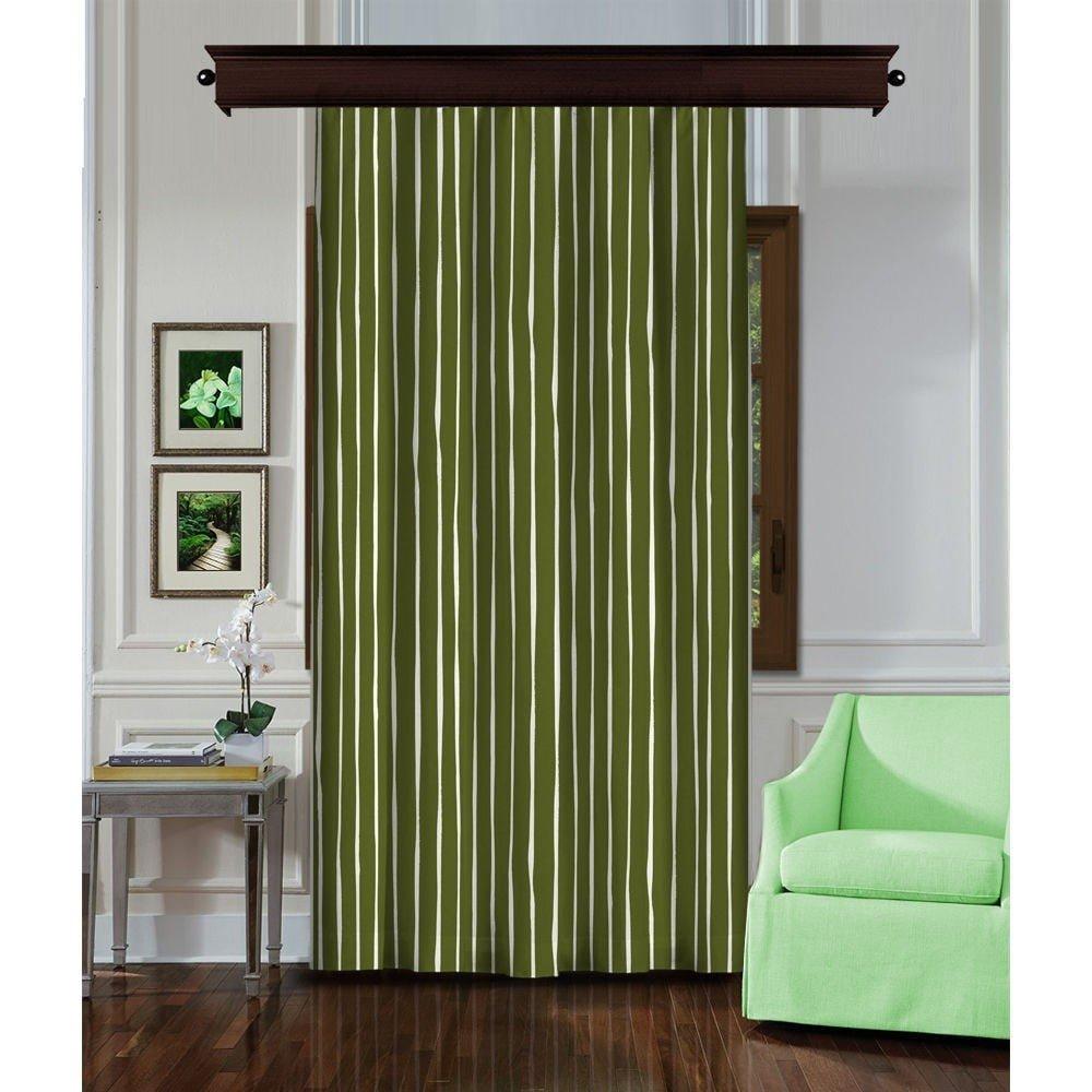 Draperie Curtain Rasgeno, 140 x 260 cm, verde cu dungi verticale albe