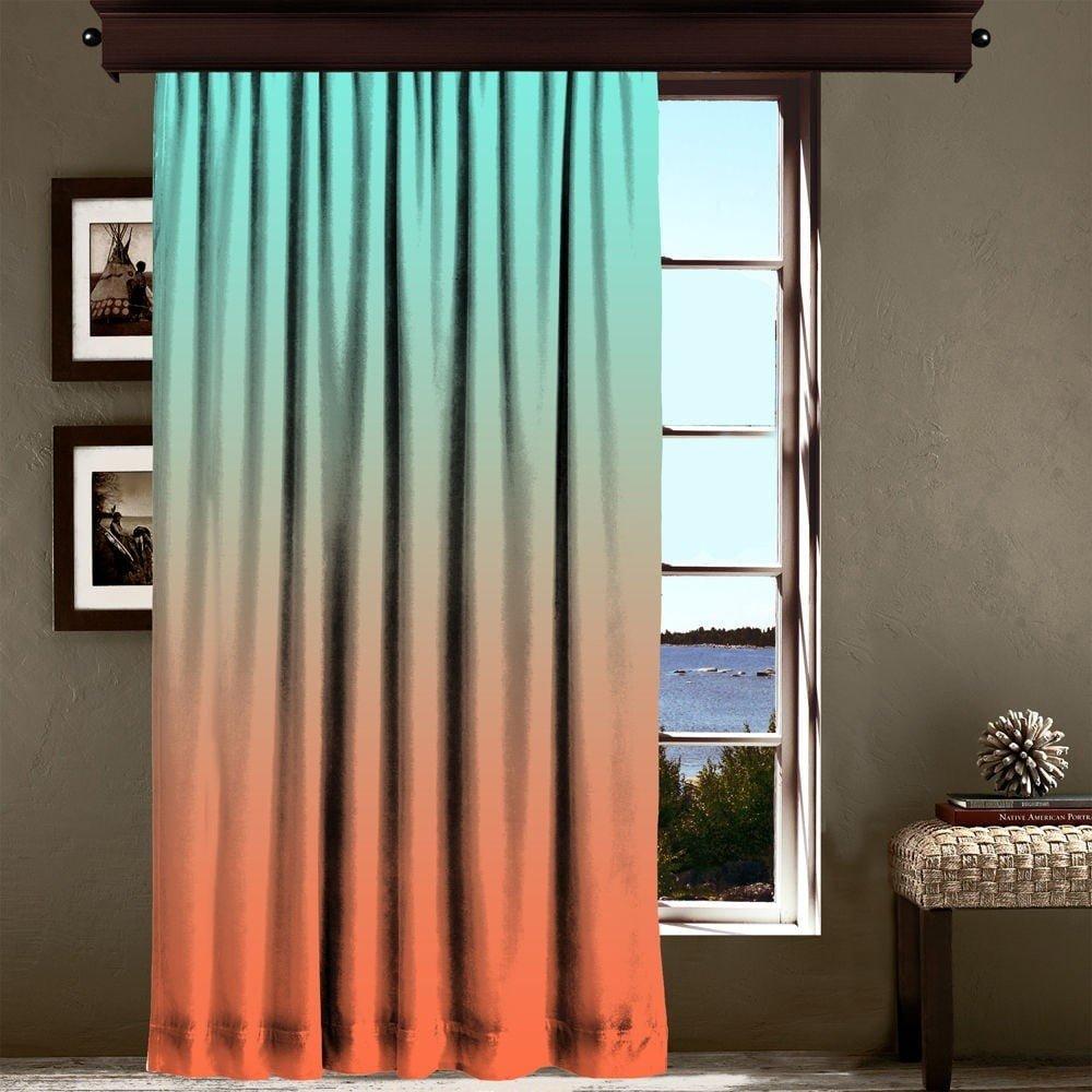 Draperie Curtain Tageho, 140 x 260 cm, portocaliu - turcoaz degrade