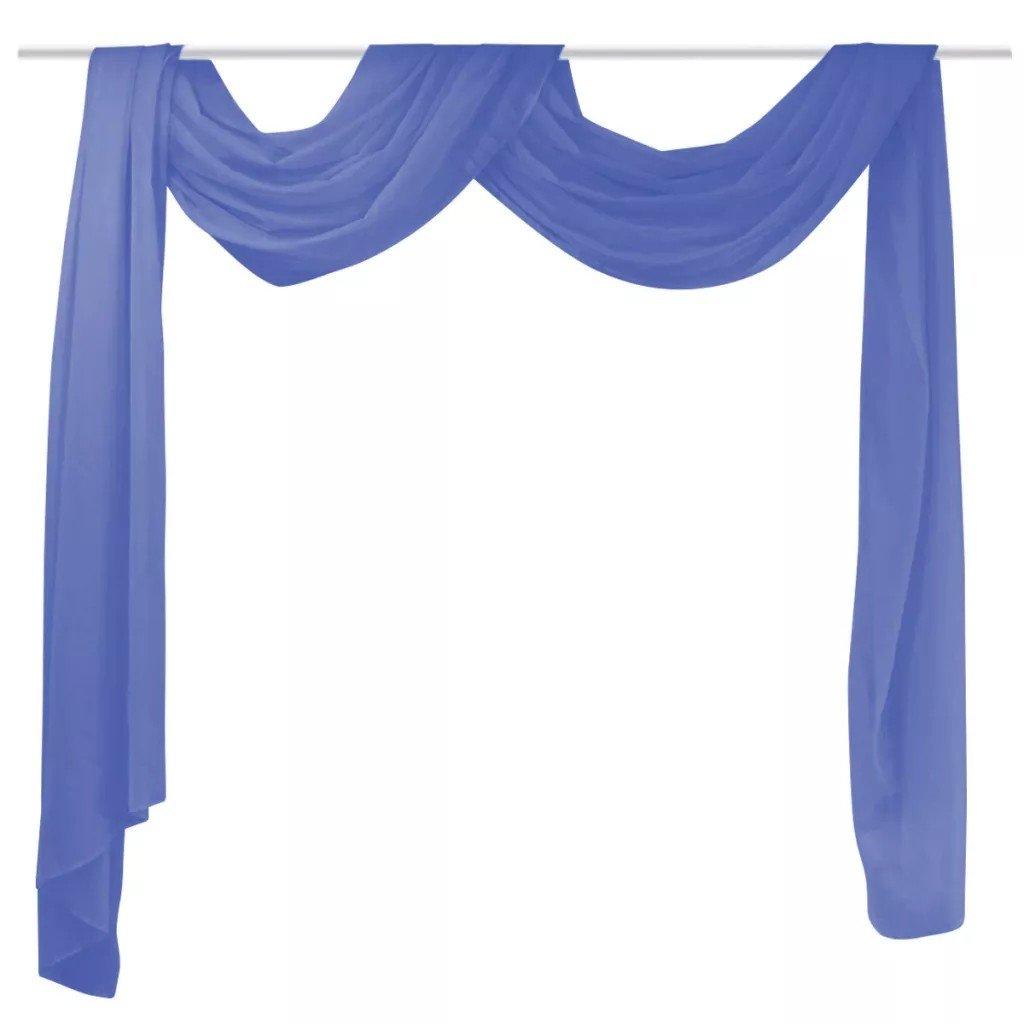 Draperie din voal 140 x 600 cm, albastru regal, asezare in falduri