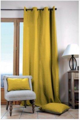 Draperie galbenă din bumbac Duo Uni Moustard 135x240 cm, galbena
