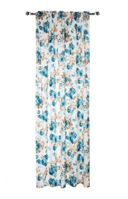 Draperie Home , Flowers 140 x 270 cm, 1 bucata, imprimeu floral albastru/bej