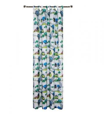 Draperie pentru copii, Green Cars 140 x 270 cm, 1 bucata, verde-albastru
