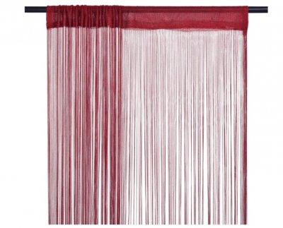Draperii cu franjuri, 2 buc., 100 x 250 cm, roșu burgund