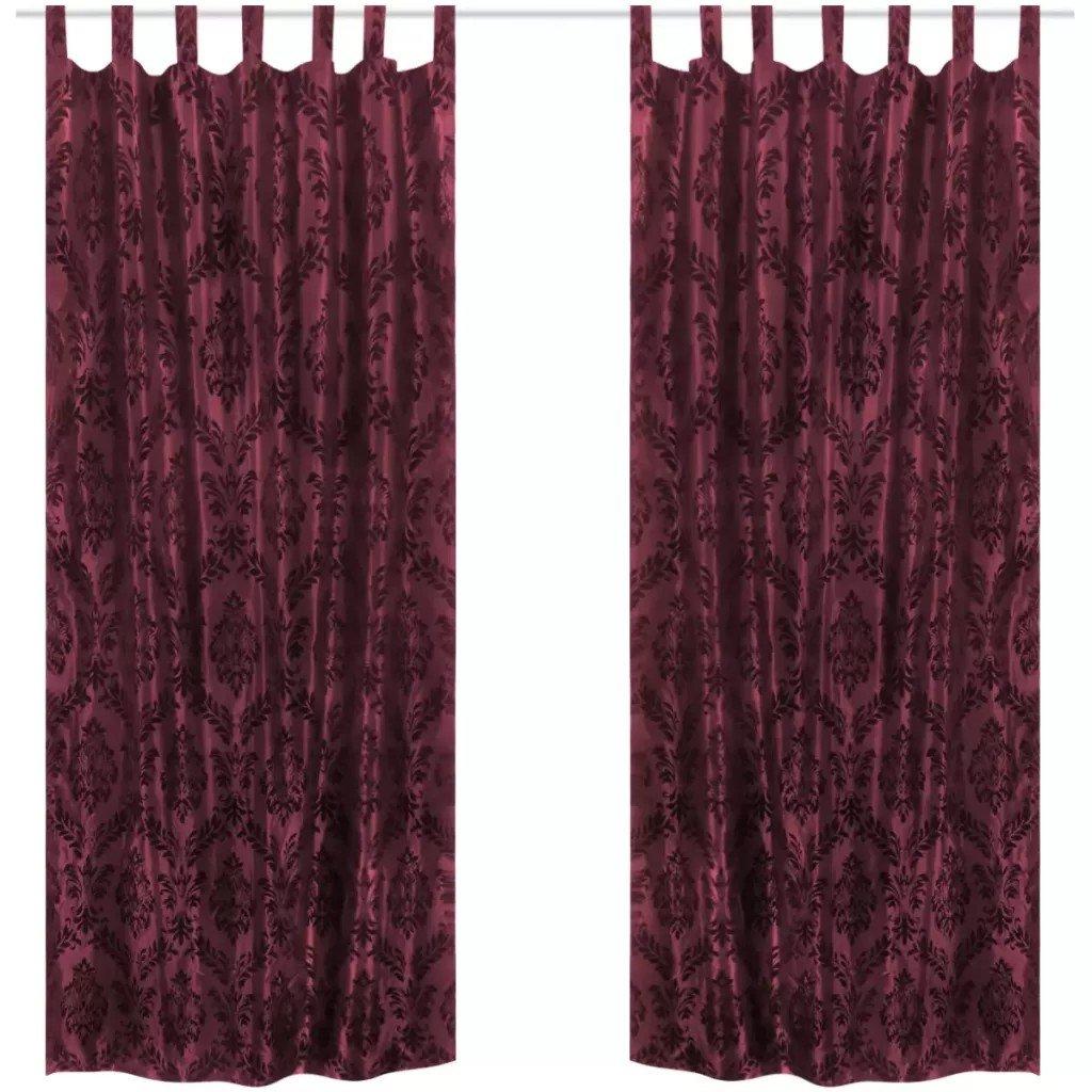 Draperii din tafta baroc cu bride 140 x 225 cm, roșu Burgundy, 2 buc