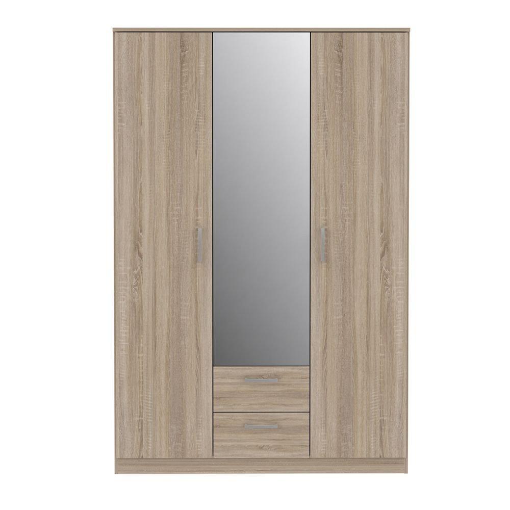 Dulap 2U Nikole, Stejar Sonoma, 1226 x 1850 x 527 mm, cu oglinda in mijloc