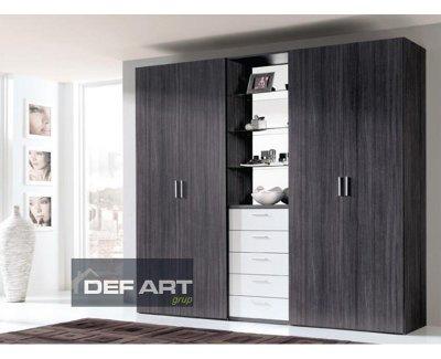 Dulap alb/negru, stejar Highland antracit, cu 4 usi, sertare si oglinda