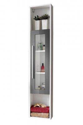 Dulap baie inalt cu 1 usa, Domino, alb-gri, usa cu sticla