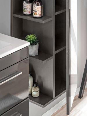 Dulap baie inalt cu 1 usa si oglinda Twist Grey, gri, design modern