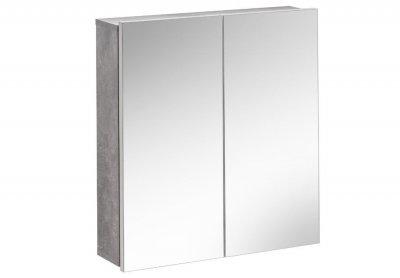 Dulap baie suspendat cu 2 usi si oglinda, Atelier, alb/gri