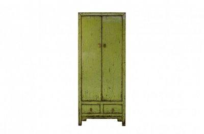 Dulap cu doua usi cu aspect vintage, verde din pin 75x40x180 cm Cabinet Versmissen