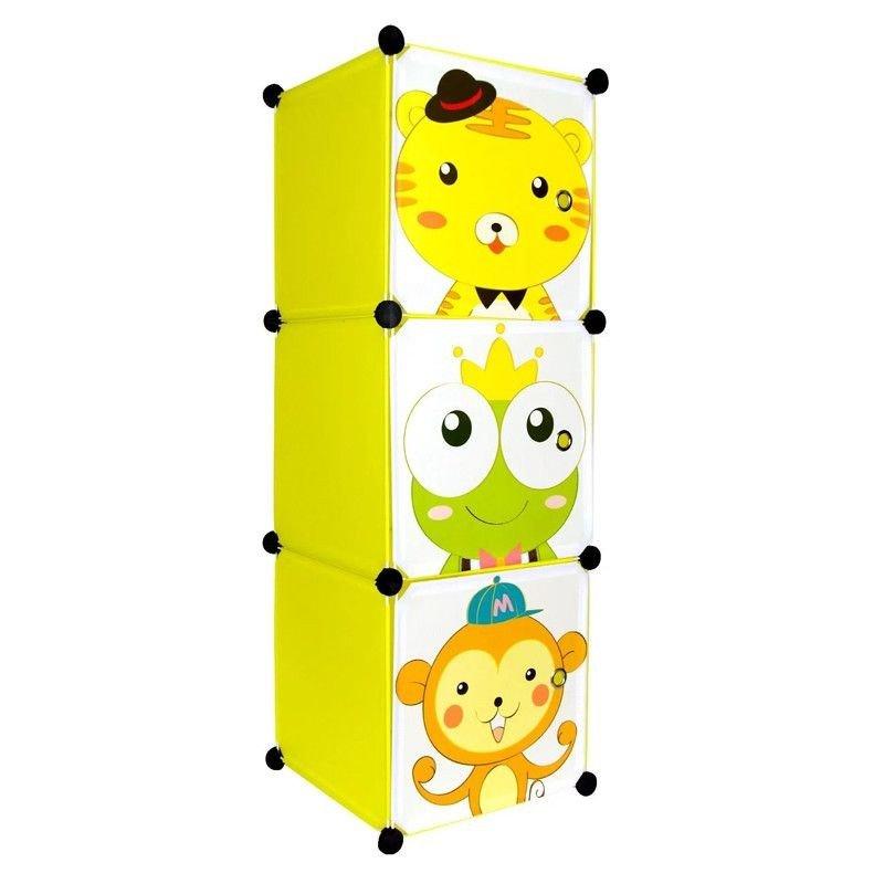 Dulap din plastic cu 3 compartimente pentru copii, 37x37x111 cm, galben