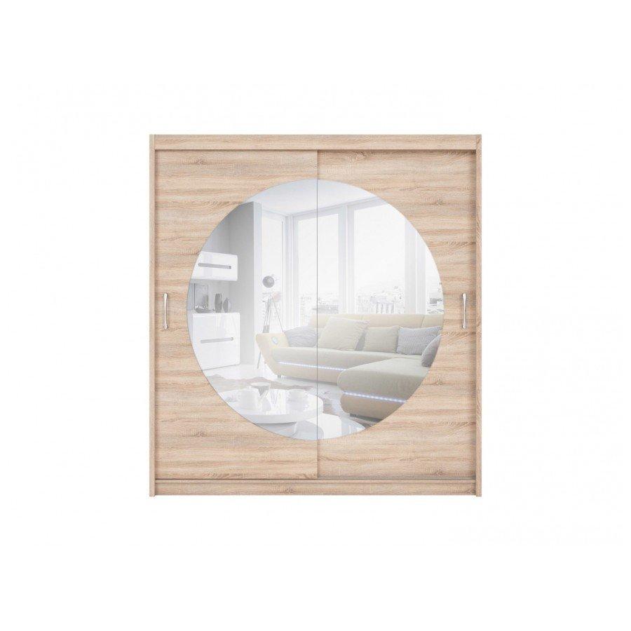 Dulap Elda SZAFA, design modern, cu doua usi culisante si oglinda rotunda