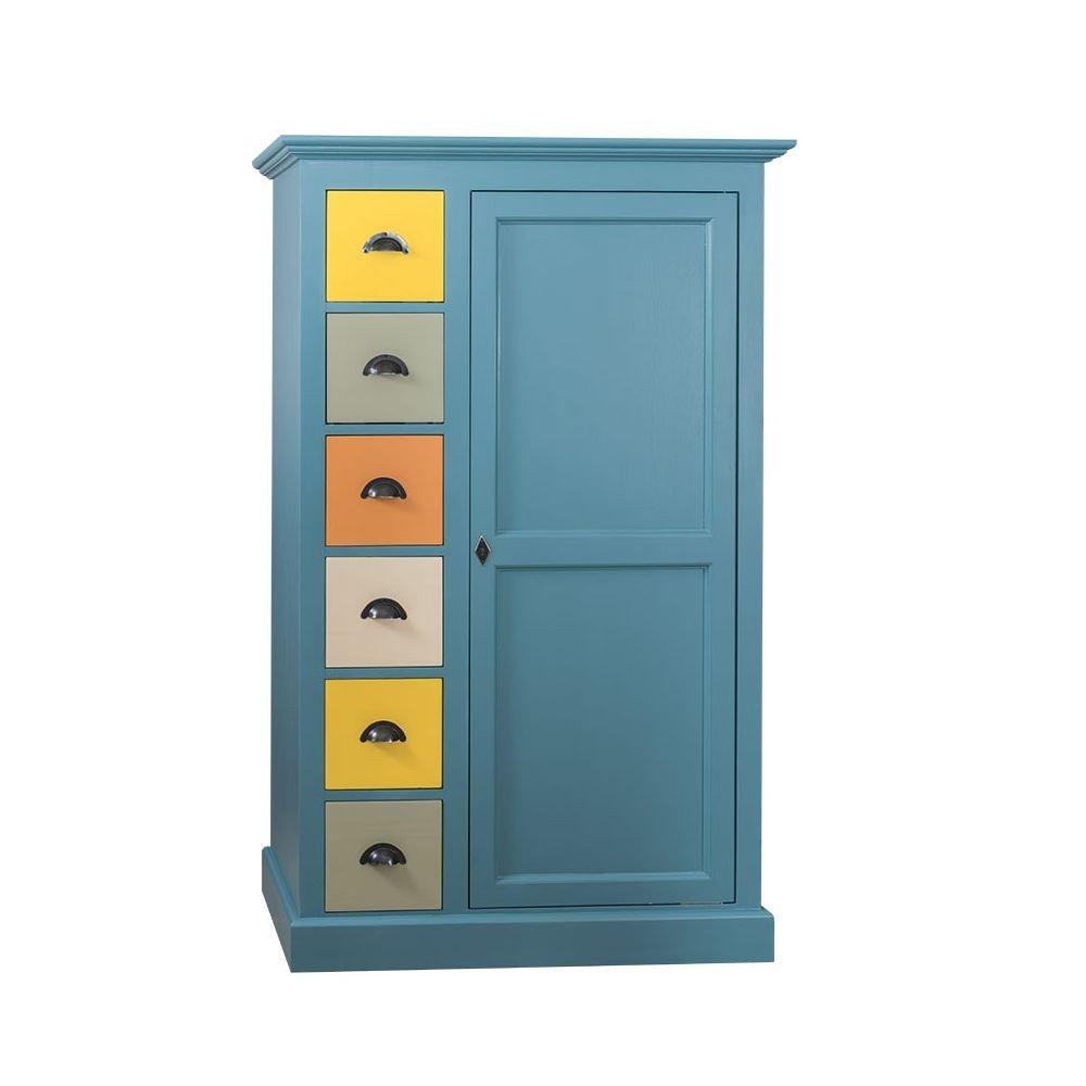 Dulap Odette turcoaz cu sertare multicolore,  lemn masiv,1000 x 490 x 1600 mm