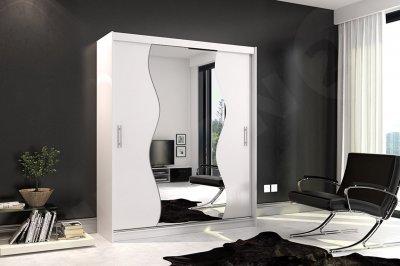 Dulap Thor 10 alb, cu usi glisante su oglinda pe mjloc cu muchii ondulate