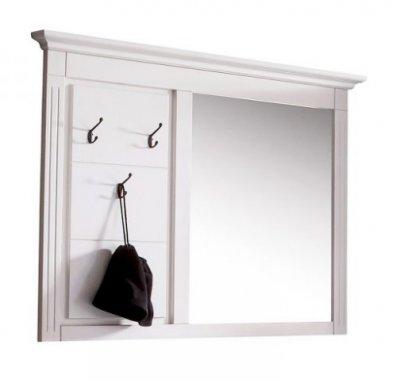 Cuier cu oglinda, Lemn Masiv, 115x7x105, Alb
