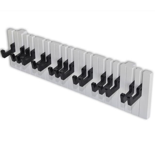 Cuier de perete cu design claviatură de pian cu 16 cârlige negre