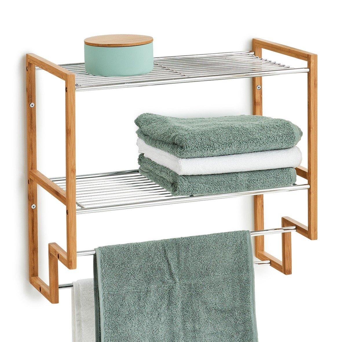 Etajera pentru baie cu suport de prosoape, Bamboo Metal,