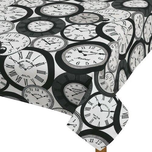 Faţă de masă Berta Ceas, 70 x 70 cm, alb-negru