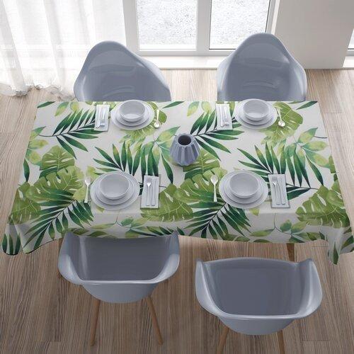 Față de masă Domarex Green Leaves, 110 x 160 cm, imprimeu frunze