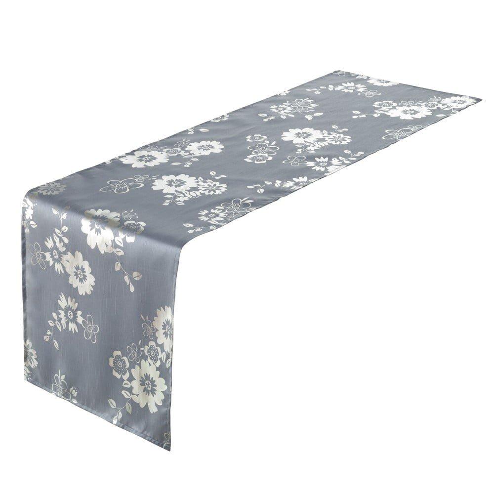 Față de masă îngustă Unimasa Deed Polyester Blue, 45 x 150 cm, albastru cu imprimeu floral argintiu