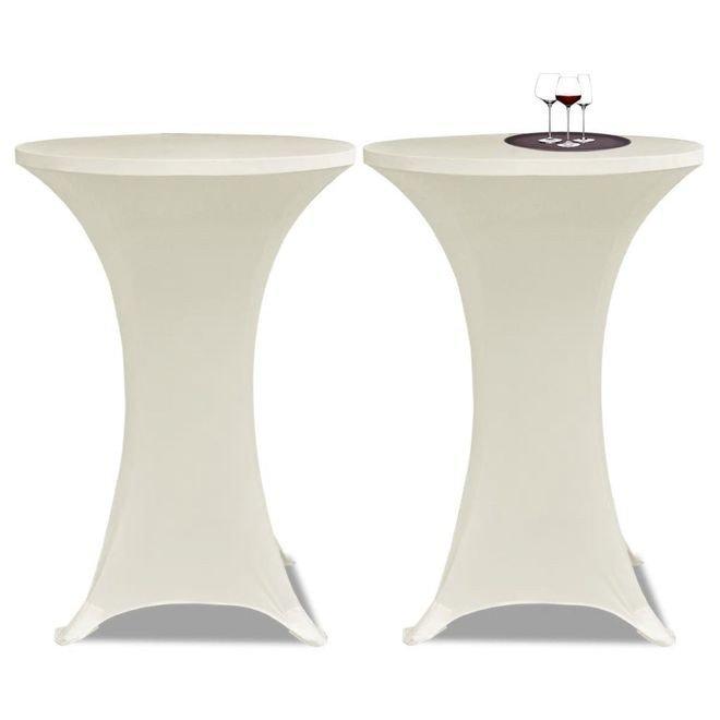 Faţă de masă pentru mese înalte rotunde 60 cm Crem Elasticizată 2 buc