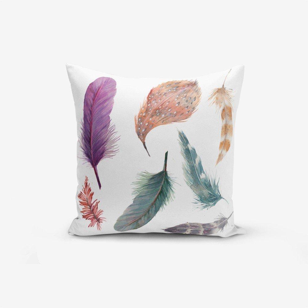 Față de pernă Minimalist Cushion Covers Cozy, 45 x 45 cm, alba cu imprimeu cu pene multicolore