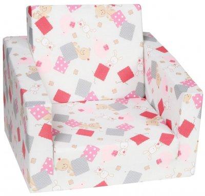 Fotoliu extensibil Patch, alb-roz