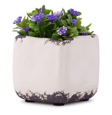 Ghiveci ceramic decorativ, alb, 7.5 cm