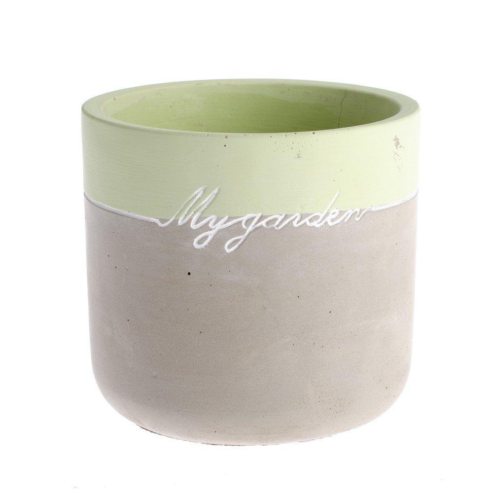Ghiveci din beton Dakls My Garden, înălțime 13,5 cm, gri-verde