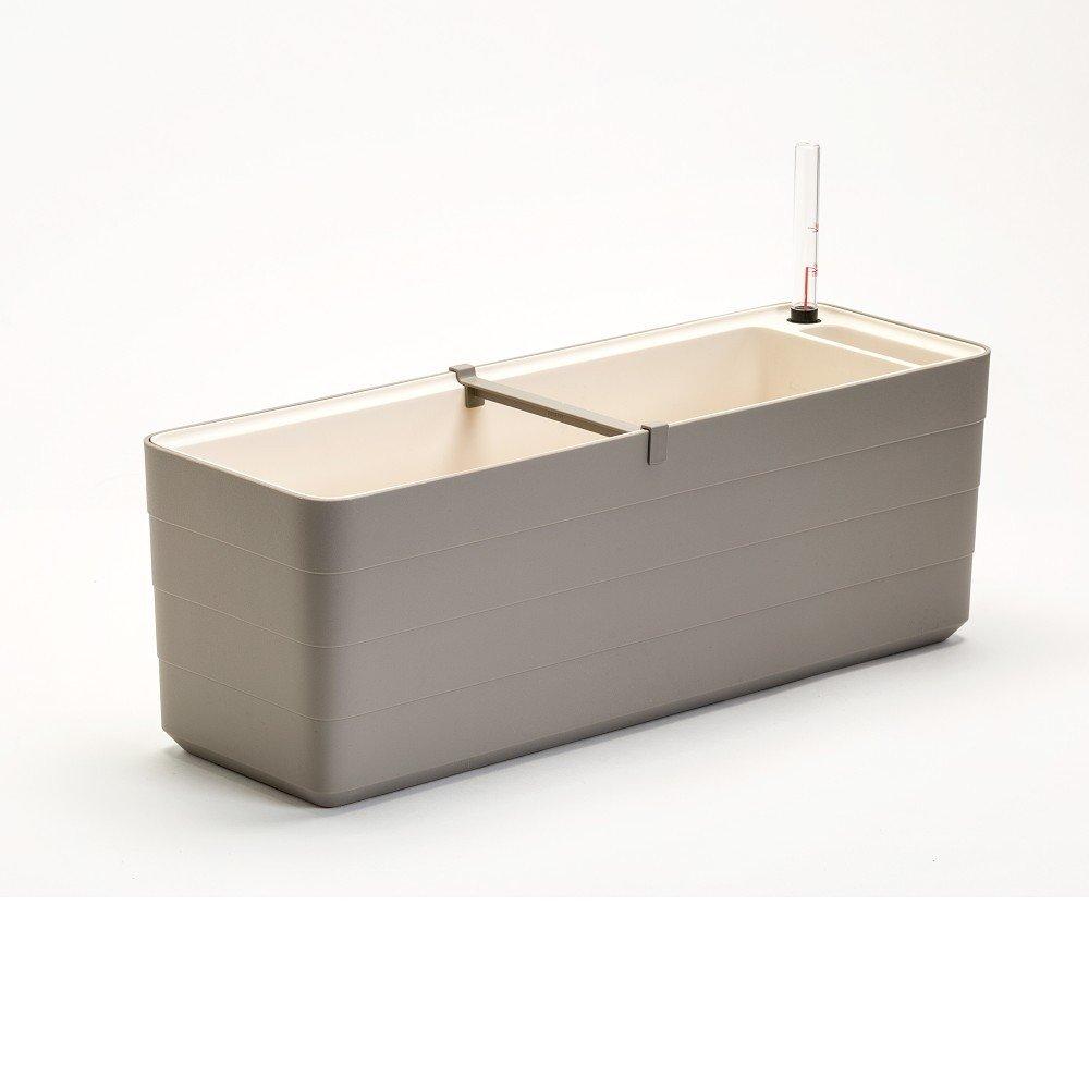 Ghiveci dreptunghiular cu sistem de auto-irigare Plastia Berberis , lungime 59 cm, gri - bej