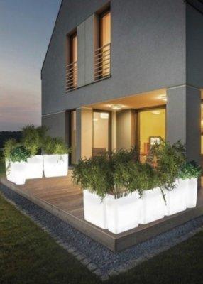 Ghiveci iluminat pentru exterior Flowerpot L, lumina alba