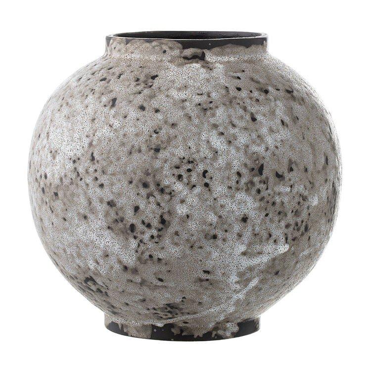 Ghiveci sferic gri lucrat manual, din ceramica, Vase Bloomingville