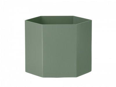 Ghiveci verde din metal Hexagon Pot XL18x14 cm Ferm Living