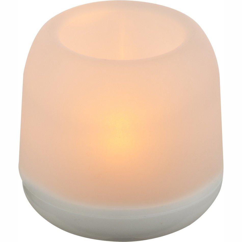 Globo Abai, veioza cu abajur alb din plastic, 7,5 x 7,5 x 7,5 cm, cu bec LED