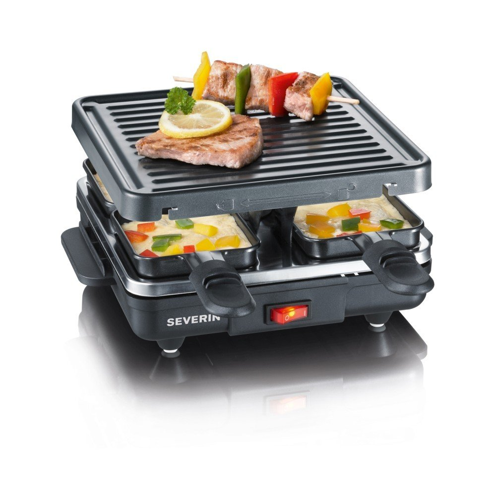 Gratar electric Grill Raclette Severin, putere 600W, 4 zone grill, negru