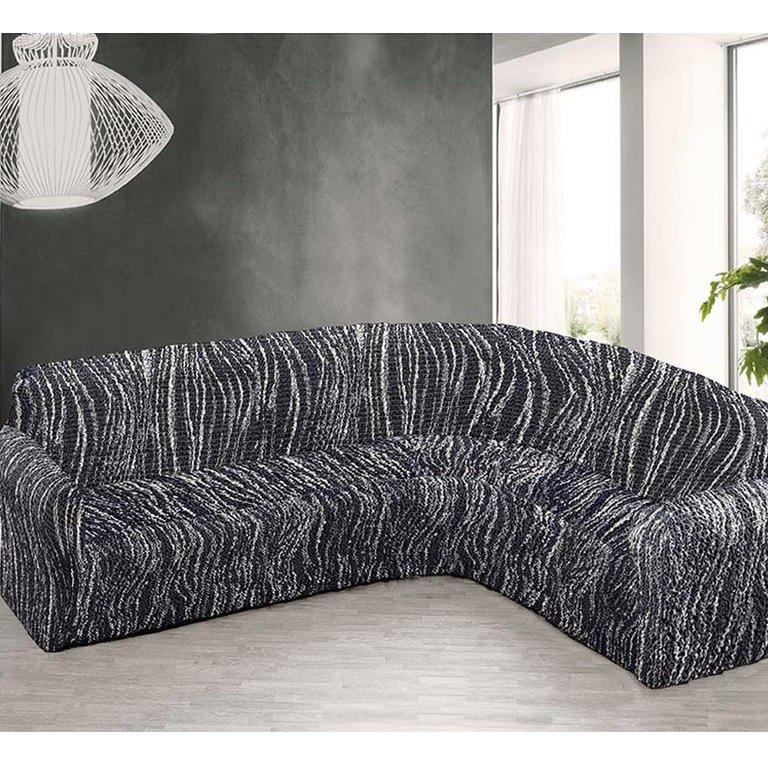 Huse cu două elastice UNIVERSO dungi alb-negru, coltar (l. 350 - 530 cm)