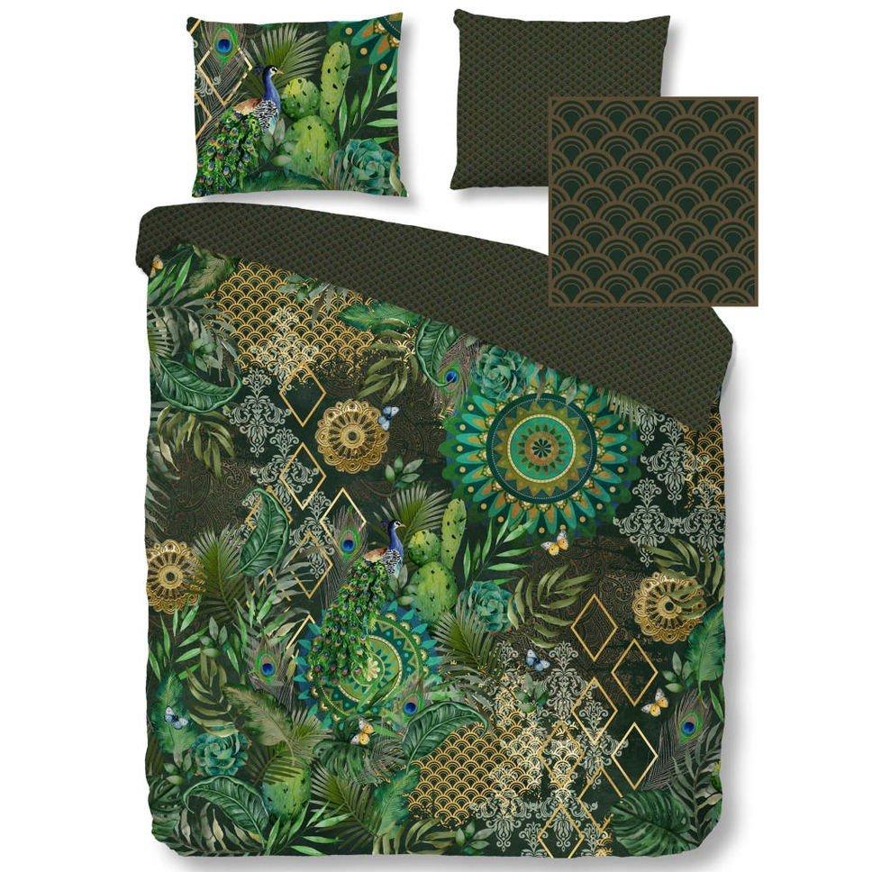 HIP Set  husă pilotă/perne 2300-H Botalia, verde, 200 x 200/220 cm, imprimeu vegetal