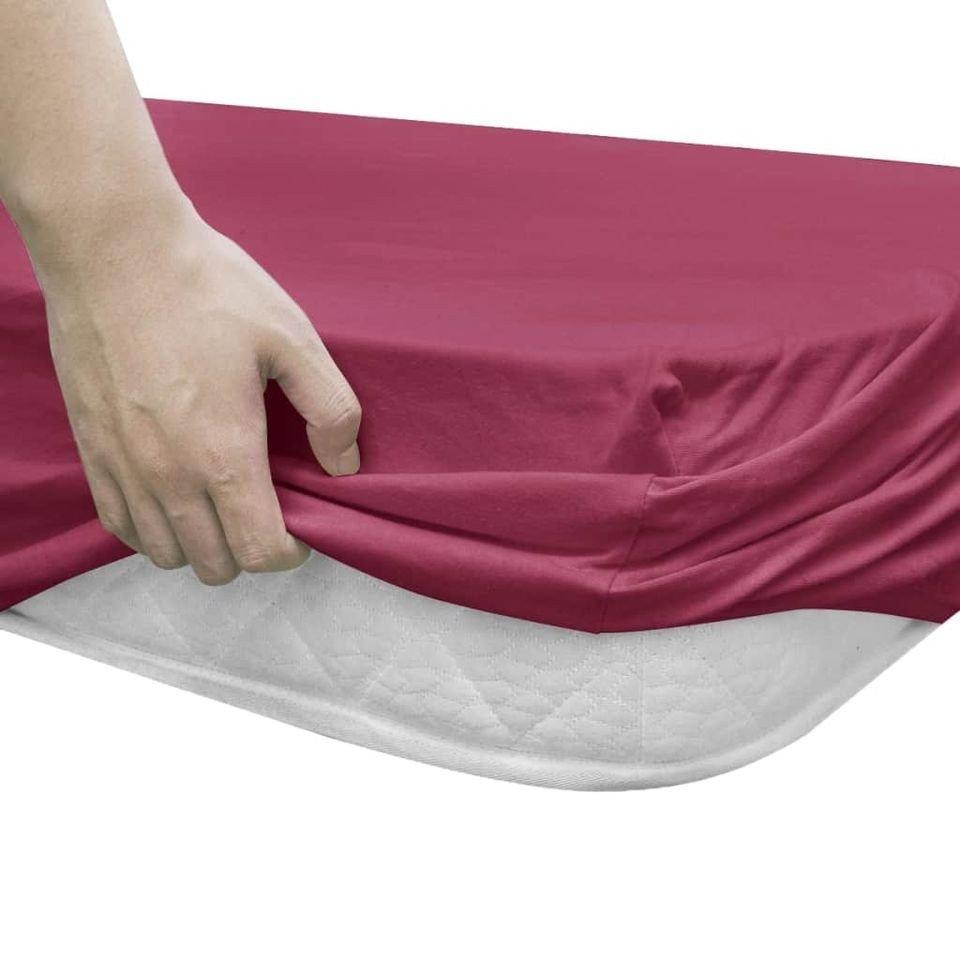 Husă pentru  pat cu apă 2 buc., 2 x 2,2 m, bumbac jerseu, burgundia
