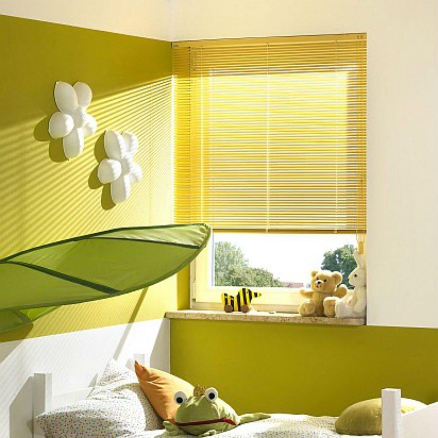 Jaluzele orizontale cu lamela de 25mm culoare galben metalizat montate in tavan