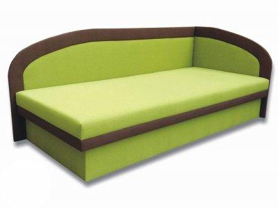 Pat de o persoană (canapea) 90 cm MeLinga (Devon 001 Verde + Devon 009 Maro) (D)