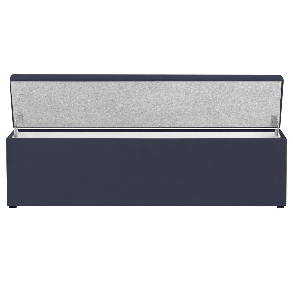 Ladă tapițată cu spațiu de depozitare Kooko Home Manna, 47 x 160 cm, albastru închis