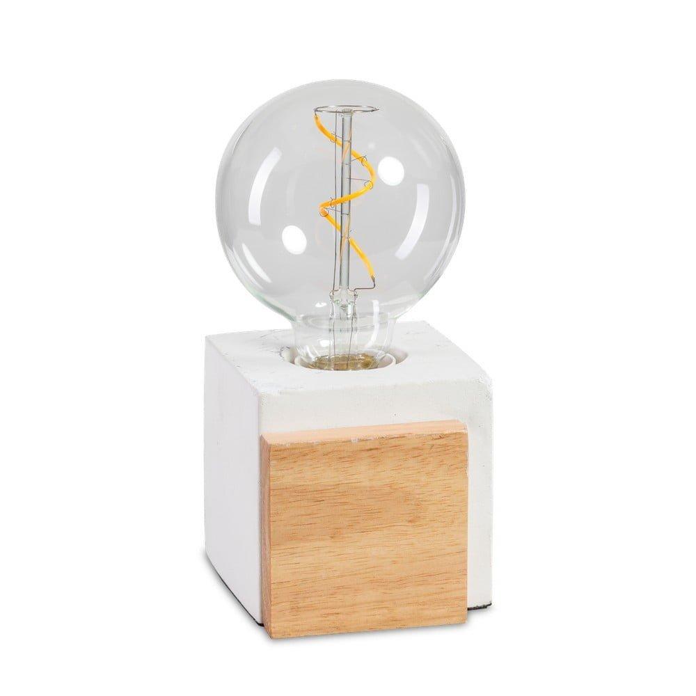 Lampă de birou ETH Cube, beton/lemn