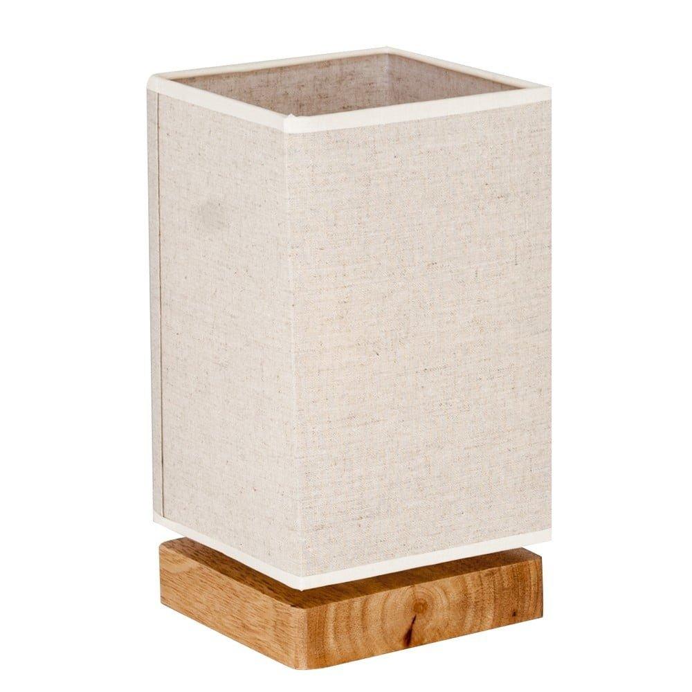 Lampă de birou Homemania Jacobo, baza din lemn si abajur bej, pvc