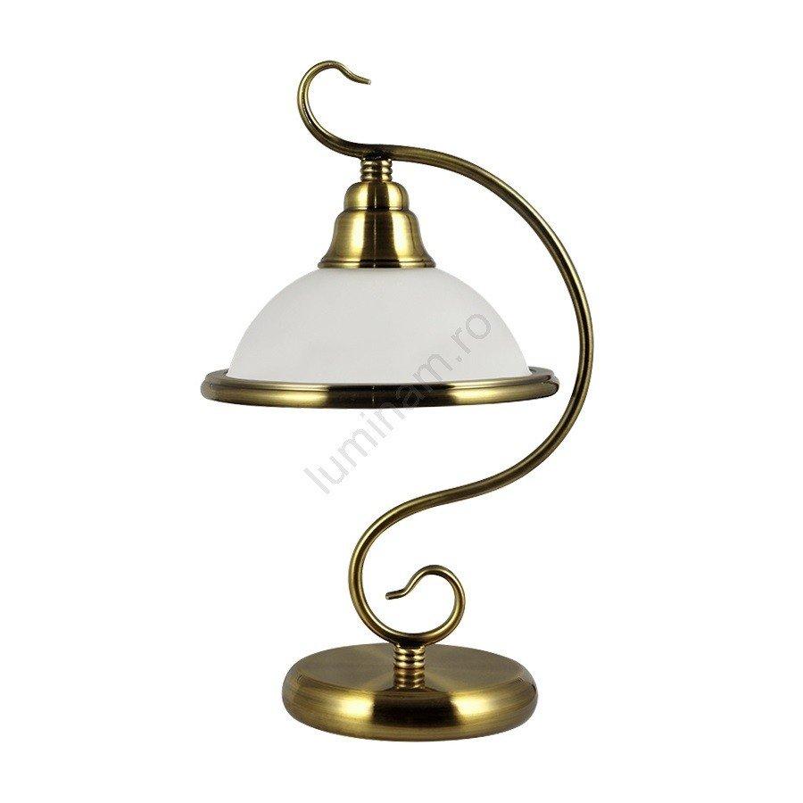 Lampa de masa VIOLA metalica,  aurie cu abajur alb din sticla