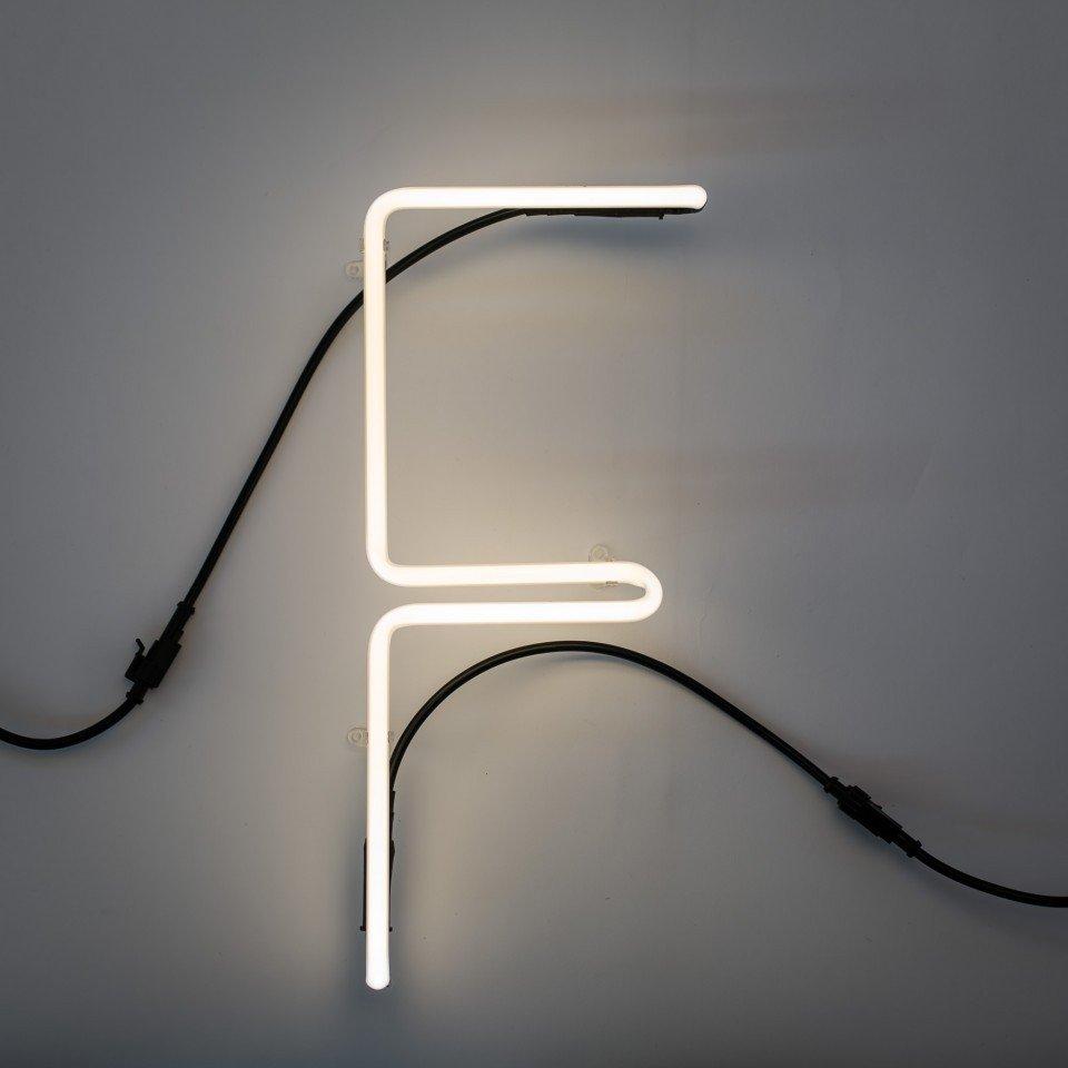 Lampa de perete  neon litera F 750 mm Alphafont Seletti, sticla