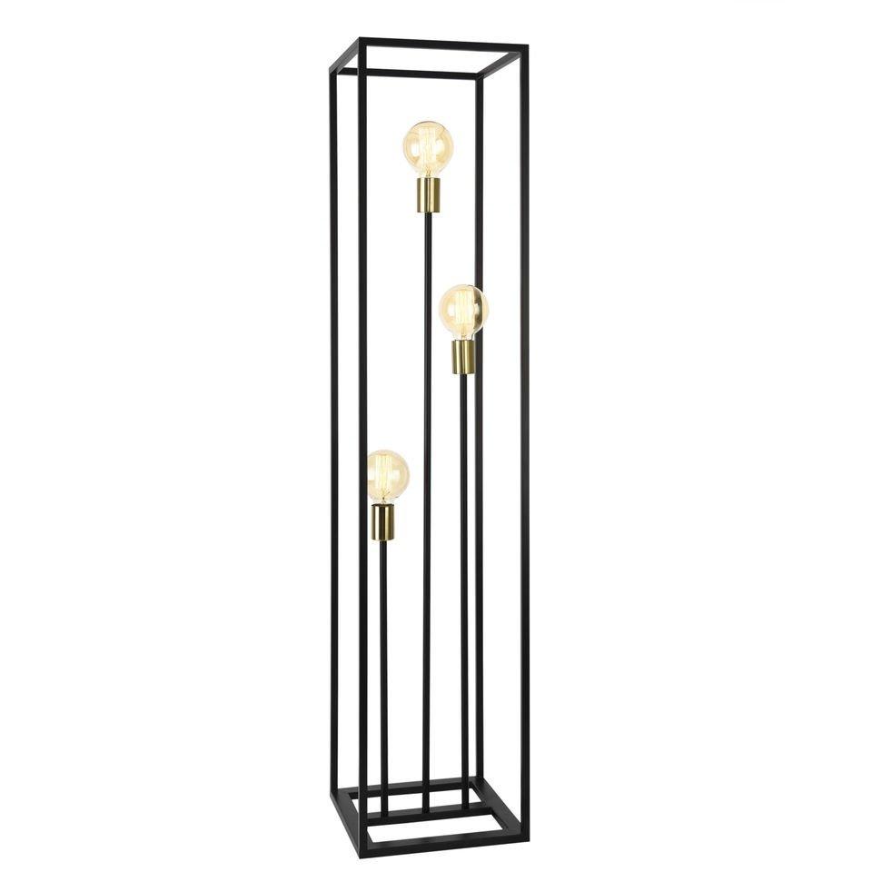 Lampa de podea Groningen, 140 x 30 x 30 cm, 3 x E27 max. 60W, metal, negru/aramiu, stil minimalist