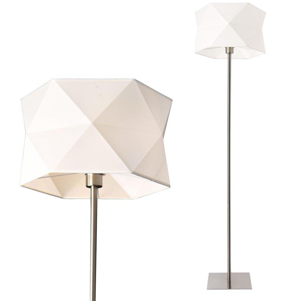 Lampa de podea Narwa, 152 cm, 1 x E27, max. 60W, metal/panza, crom/alb